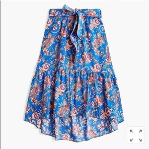 Belted pull-on midi skirt in Liberty® Flora Belle